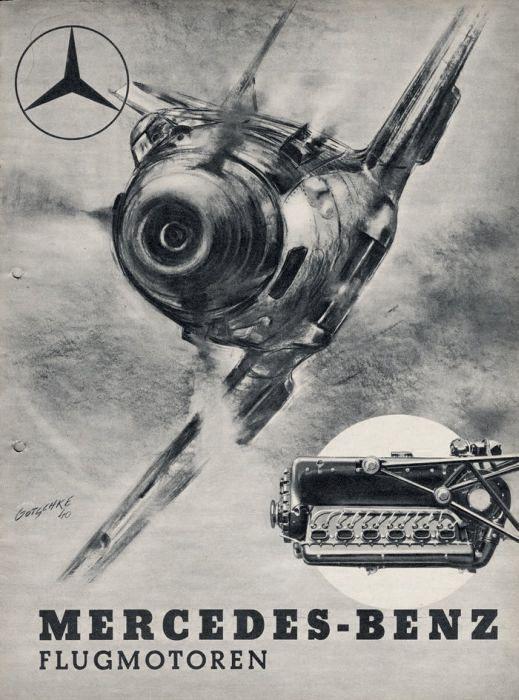 Mercedes-Benz repülőgép-motor reklám Bf 109 vadászgéppel