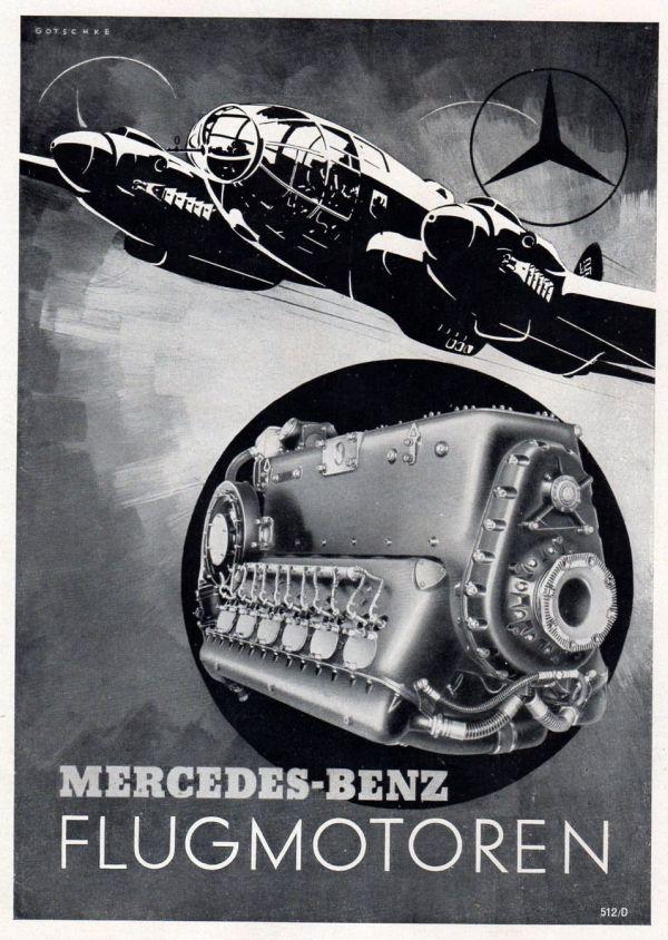Mercedes-Benz repülőgép-motor reklám He 111 bombázóval