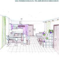 Amerikai konyhás nappali látványterve Veresegyházon