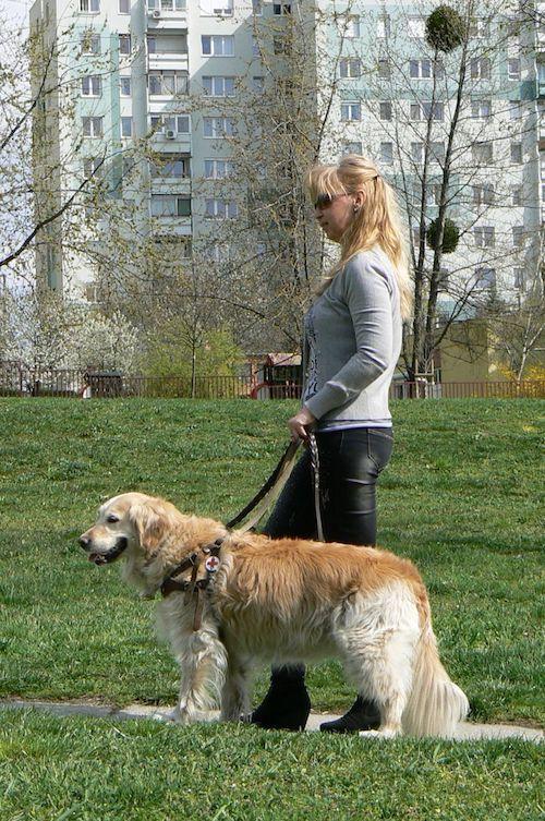 Nyikes Fatime kutyájával sétál