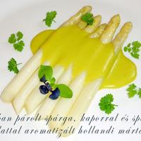 Vajban párolt spárga, kaporral és spárga párlattal aromatizált hollandi mártással