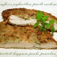 Finomfüves joghurtban pácolt csirkemell pirított hagymás panko panírban