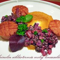 Sült krinolin céklás-tormás meleg lencsesalátával és batáta pürével