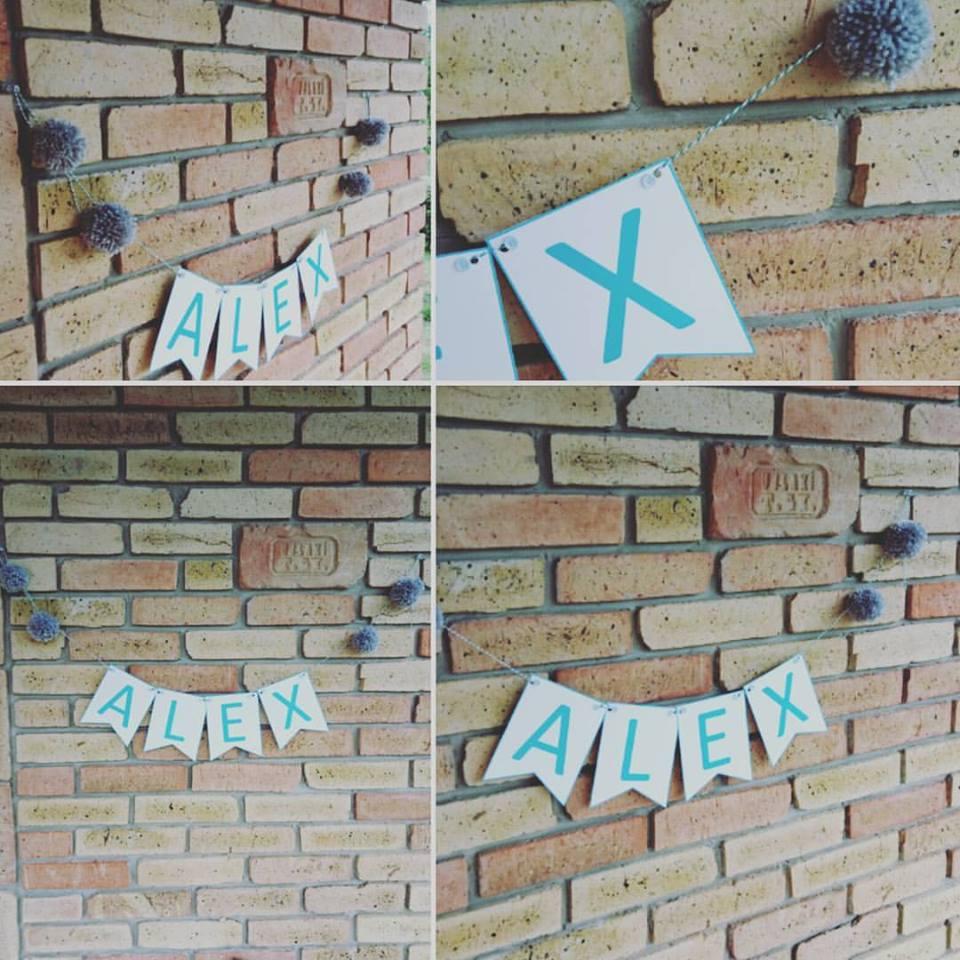 Alex felirat - vastag szegéllyel - szürke és menta színekben - gyönyörű volt