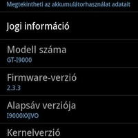 Hivatalos (XWJVH) Gingerbread (2.3.3) Samsung Galaxy S-re