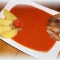 Paradicsommártás leveshússal és főtt krumplival