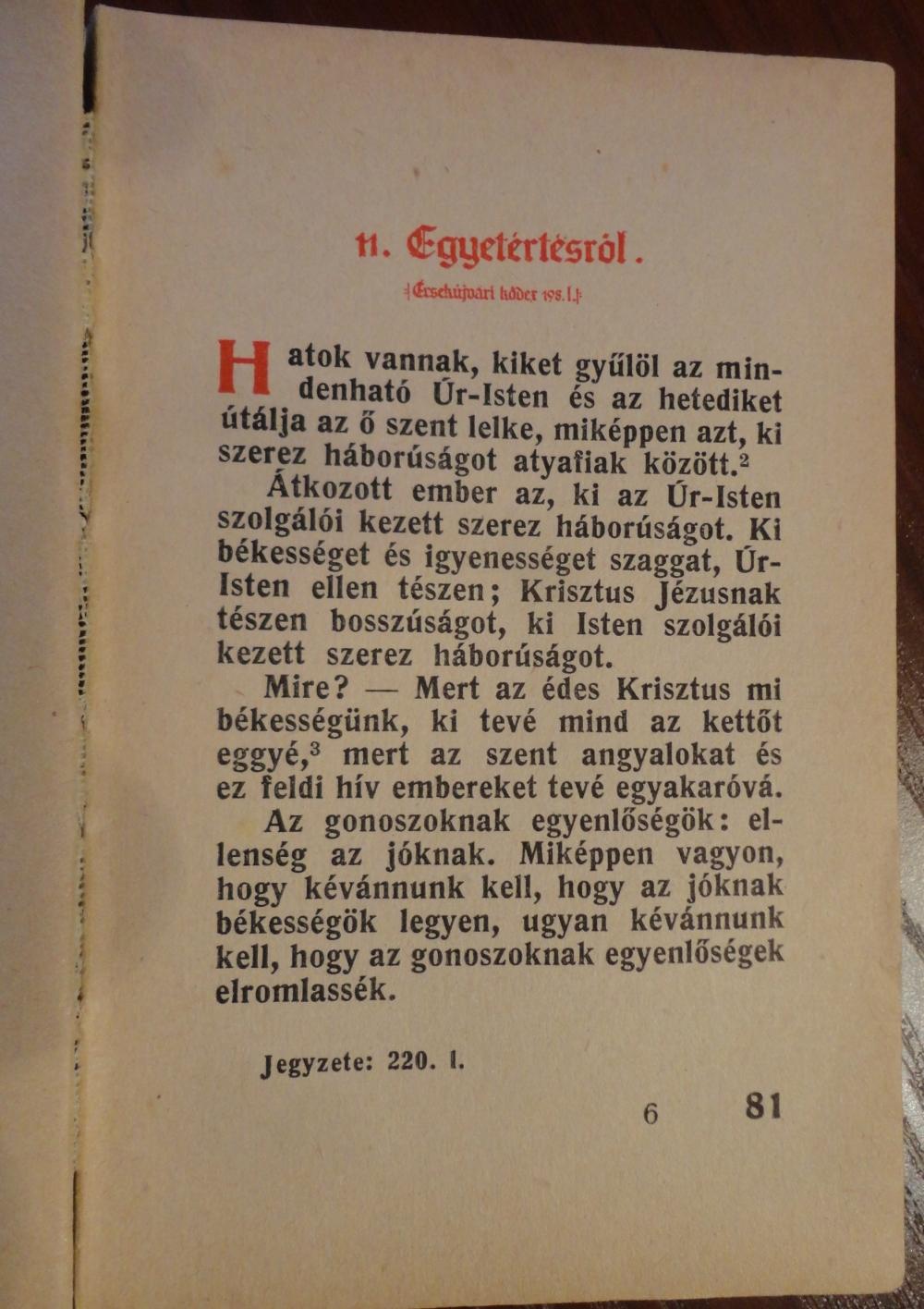 Egy oldal A jó élet módja c. könyvből (Szent István Társulat, 1943.)