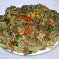 Rizs zöldséggel, májjal, hússal