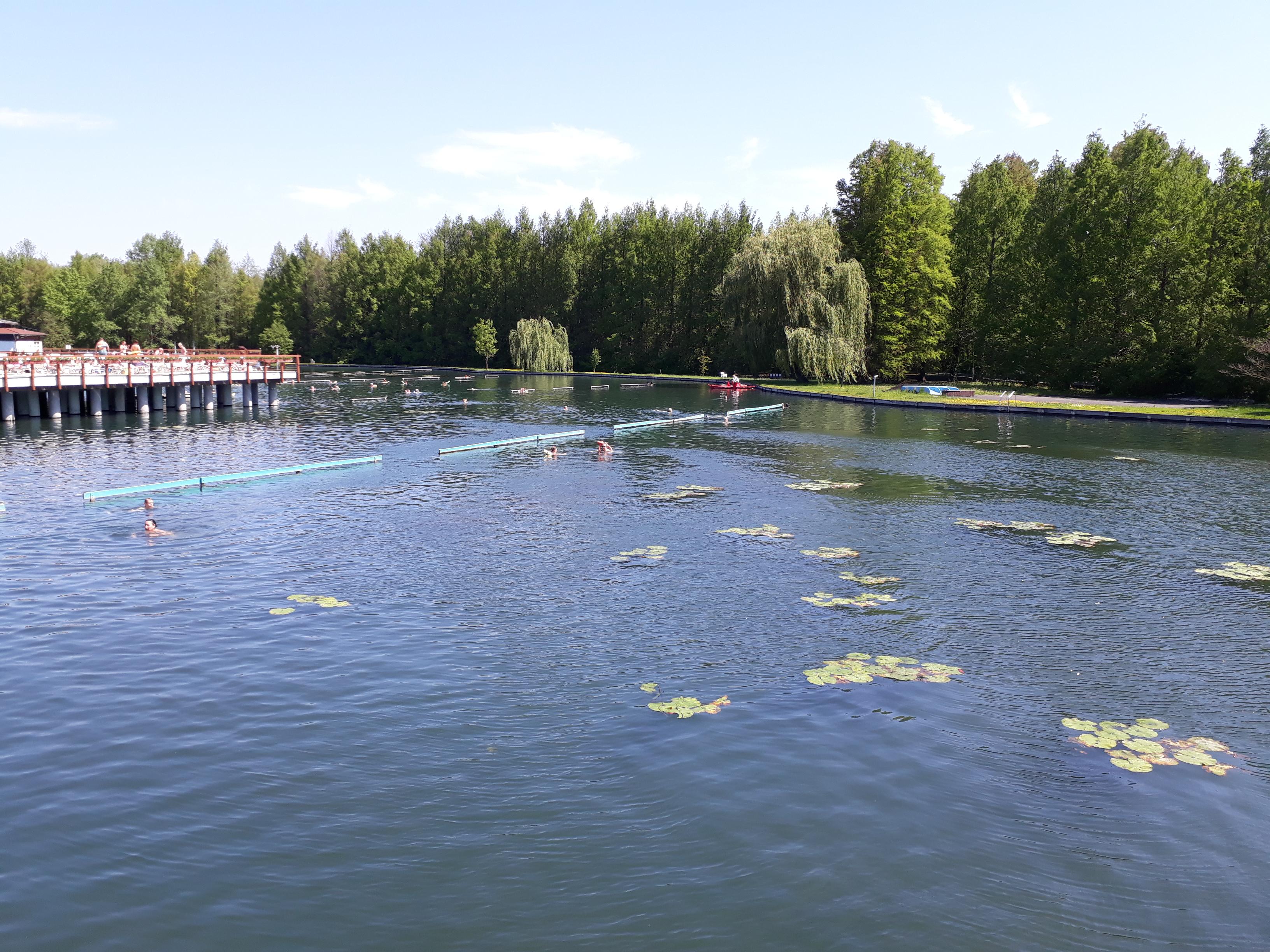A tó mélysége 2-38 m, viszont rengeteg kapaszkodót raktak le, ha elfáradnánk nyugodtan elücsöröghetünk egynél hosszabb ideig. A tavi rózsák mellett úszkálni pedig nagyon jó érzés (kivéve amikor egy ki nem lógó hozzád ér a víz alatt, mert az elég ijesztő :D)