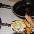 Argentín steak hízott libamájjal, rizibizivel és gombával