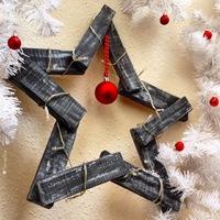 Karácsonyi csillag tűzifából