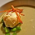 Hideg zöldbableves karamellizált körtefagyival