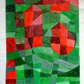 Absztrakt festmény ~ zöld-piros 2.