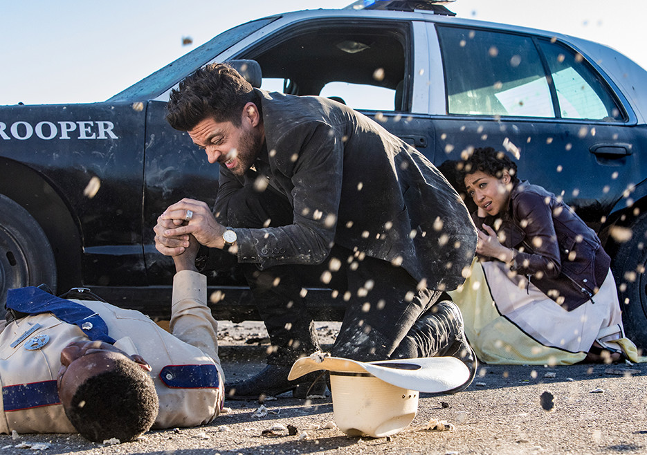 Jesse Custer (Dominic Cooper) and Tulip (Ruth Negga) in Season 2<br />Photo by Skip Bolen/AMC