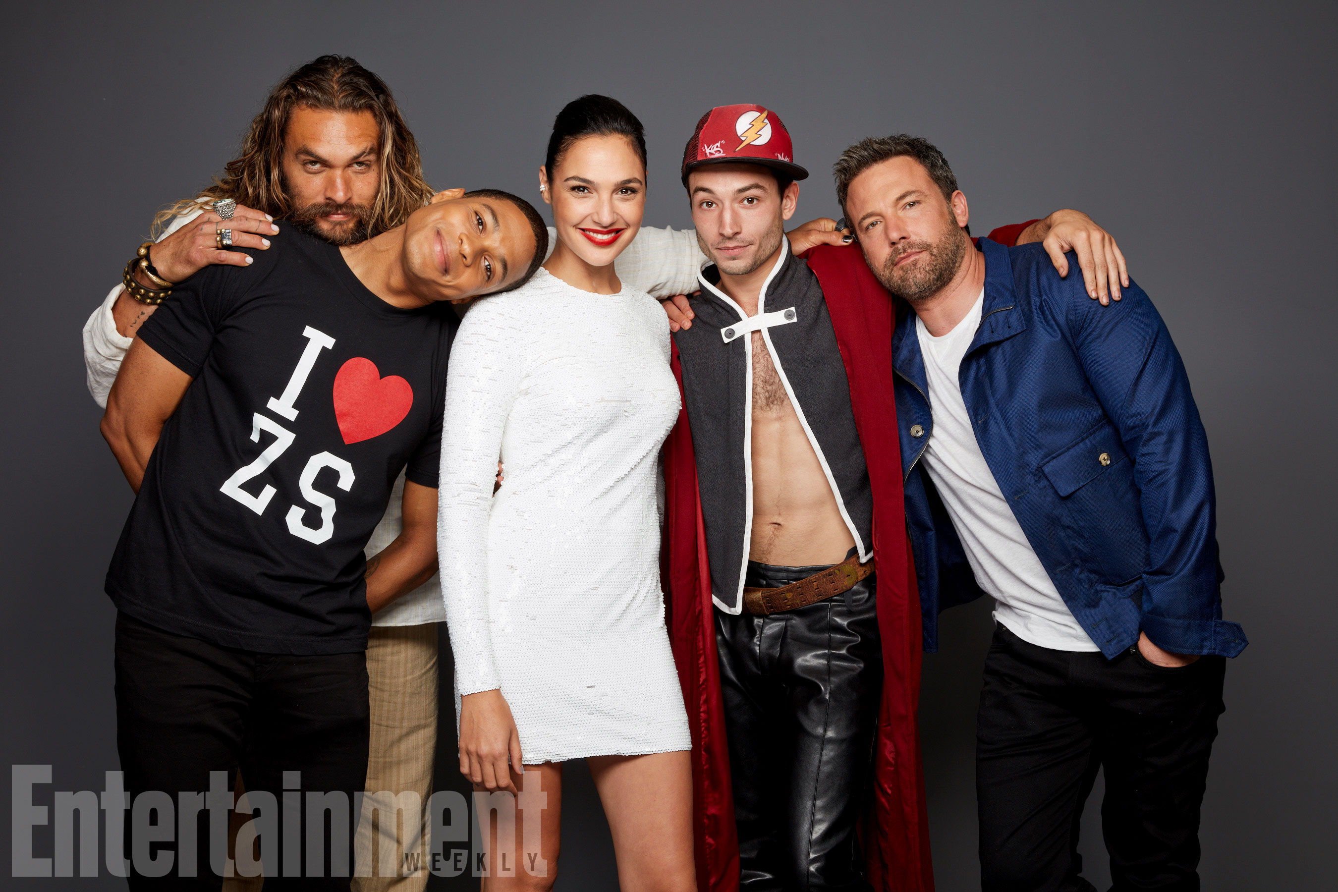 Jason Momoa, Ray Fisher, Gal Gadot, Ezra Miller és Ben Affleck (Justice League)
