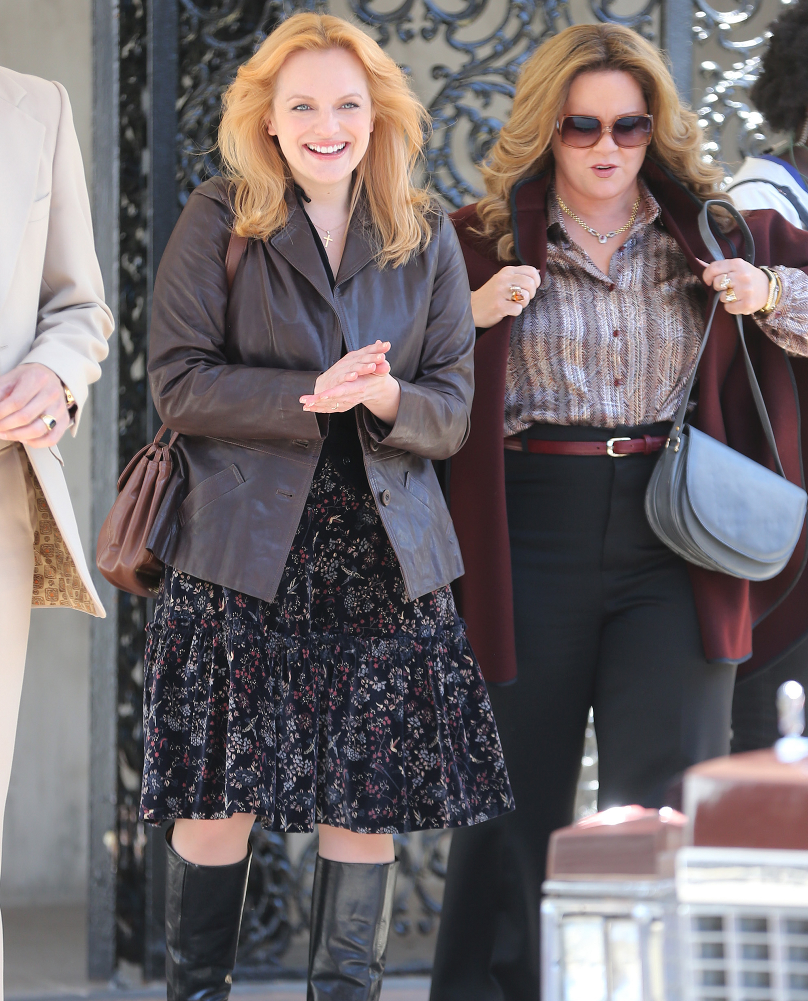 Elisabeth Moss and Melissa McCarthy are ready for their close-up on the Brooklyn, New York set of The Kitchen.