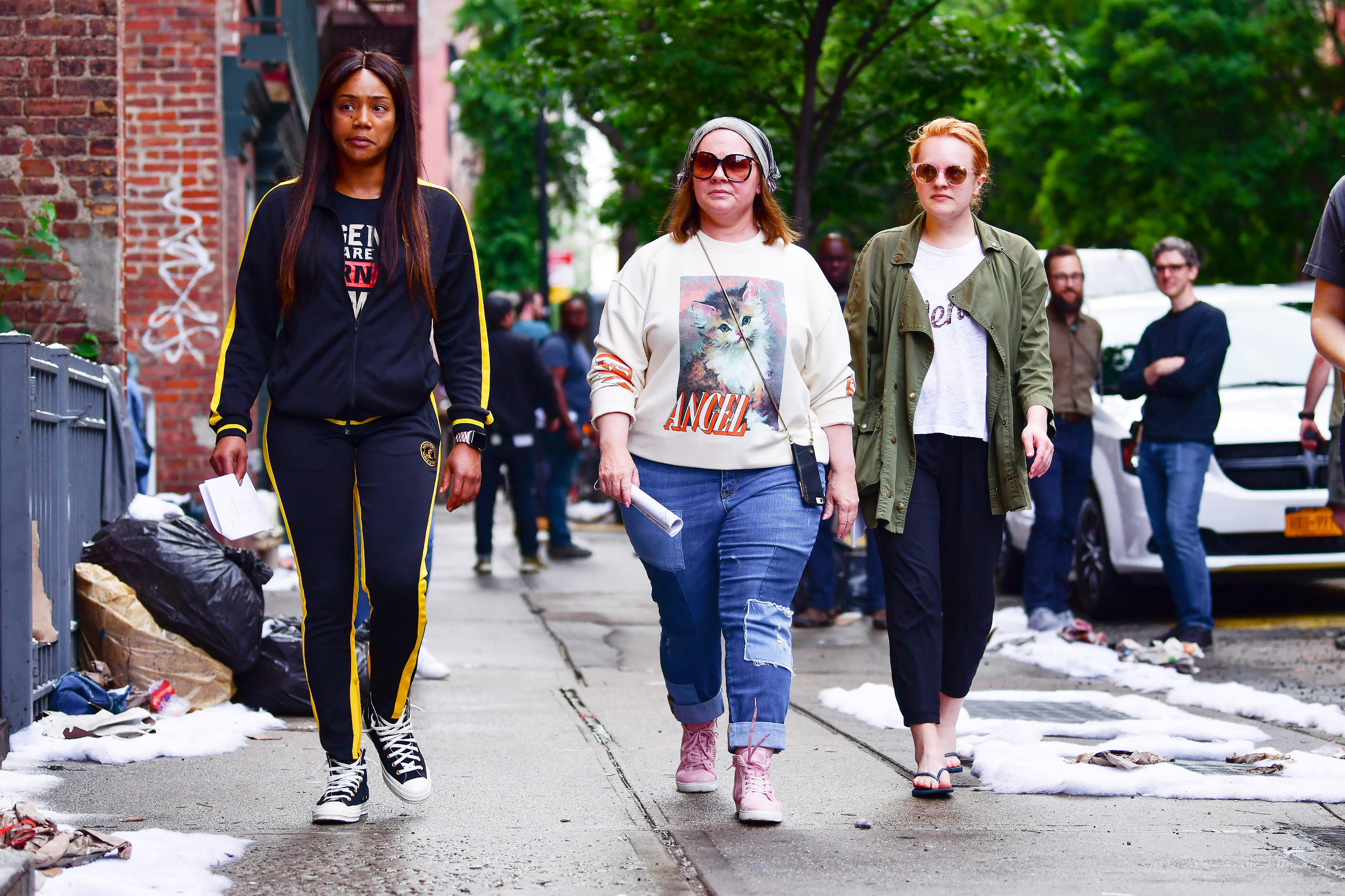Tiffany Haddish, Melissa McCarthy and Elisabeth Moss are spotted filming The Kitchen in N.Y.C.