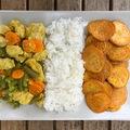 Currys-zöldbabos csirke édesburgonya chipsszel