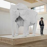 Életnagyságú elefánt egyetlen papírlapból