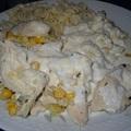 Kukoricás csirkeragu sajtmártással