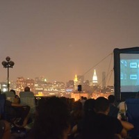 Open air cinema in Hoboken