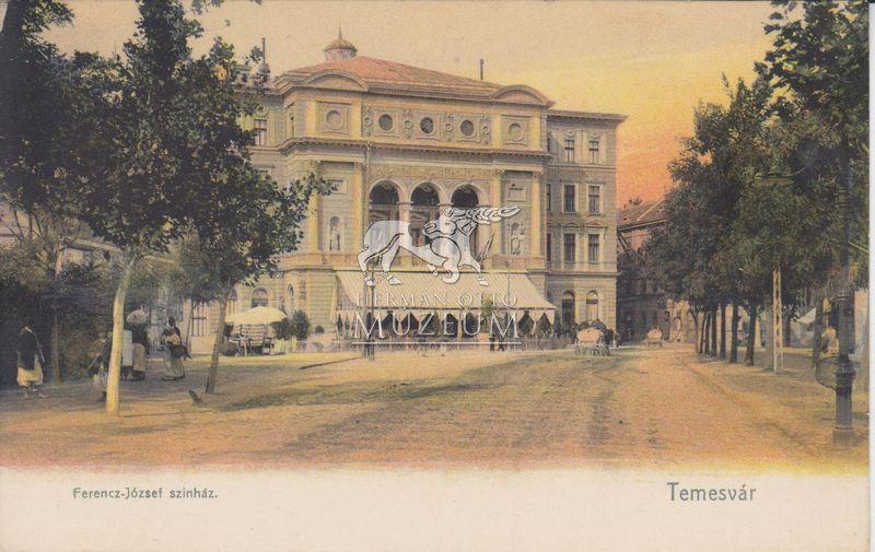 """Képeslap Temesvárról 1939(?)-ből, az írás rajta: """"Kirándultunk ide igen szép nagyságos vidéki város,  egyetemben üdvözlünk respective csók és kézcsók Carmen néninek kezeit csókoljuk"""""""