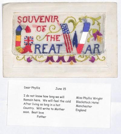 Hímzett képeslap egy brit katonától lányának az első világháború idejéből.