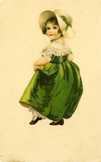 Kislány zöld ruhában – képeslap 1903-ból, Svédországból.