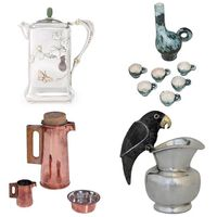 keyword: PITCHER • tiffany & co. american silver and mixed-metal japanese style hot milk jug • jacques blin ceramic tea or sake set • tapio wirkkala coffee tea sevice for hopeakeskus • los castillo silver plate parrot cream pitcher • source: sotheby's, 1stdibs