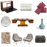 keyword: ENVELOPE • custom wall mounted modernist writing desk • antique victorian sterling silver and enamel vesta case • richard smith red envelopes • pineidor art deco sterling silver catch-all • harvey probber executive pedestal desk • southern song dynasty 'guan' octagonal vase • illustrated envelope from jack b. yeats to rev. t. a. harvey showing chart of pirate island • italian sculptural mantis form lounge chairs • french leather box with brass mounts • source: 1stdibs, mutualart, sothebys
