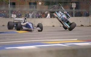 Damon Hill és Michael Schumacher ütközik, Adelaide (Ausztrália), 1994