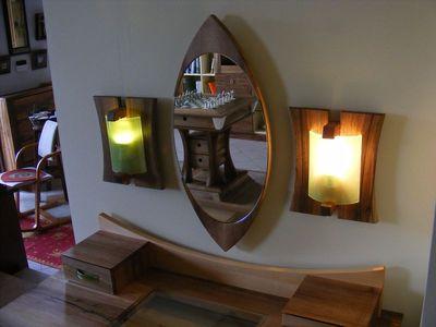 diófa tükör, lámpa