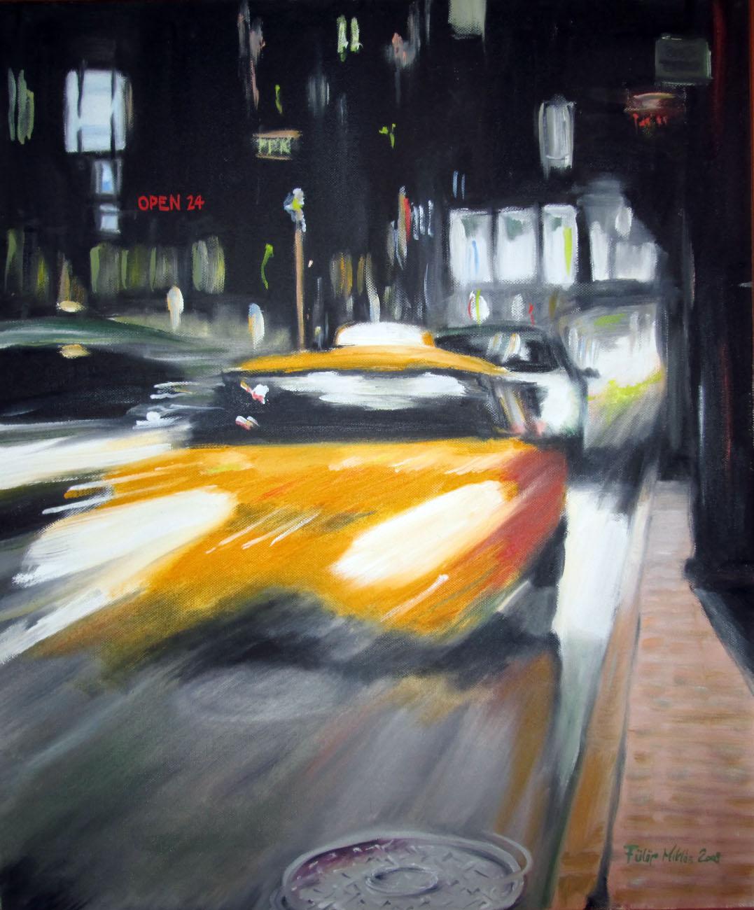 Taxi!<br />60x50 cm, olaj/vászon (2008)<br />59 000 Ft