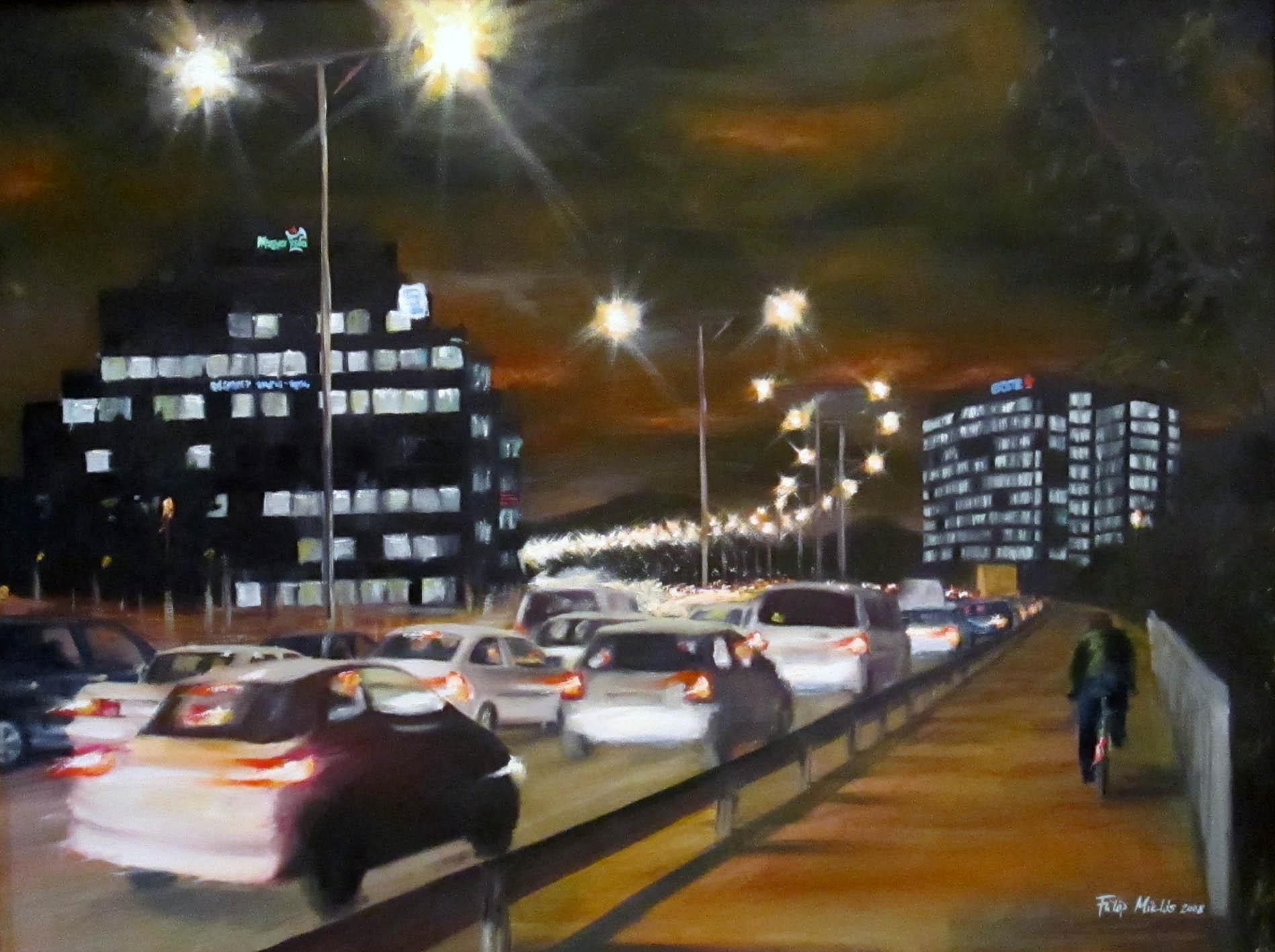 Az Árpád híd fényei<br />60x80 cm, olaj/vászon (2008)<br />59 000 Ft
