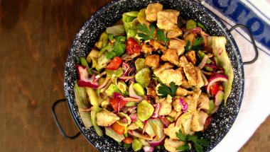 Mézes mustáros csirke, friss salátával