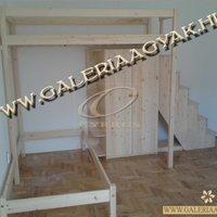 L alakú emeletes ágy - fiókos lépcsővel, ágyneműtartóval, bútorokkal