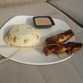 Chicken satay mogyorós-kókusztej mártással és thai jázminrizzsel