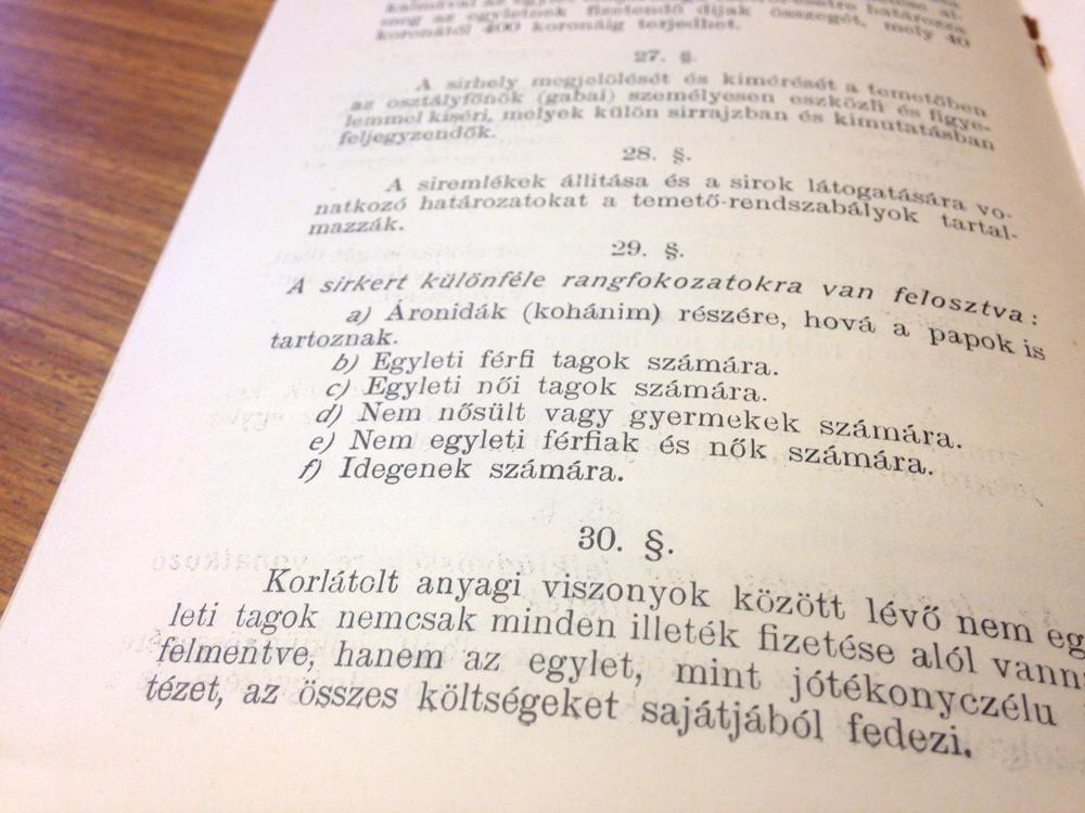A Mezőkövesdi Chewra Kadischa Egylet alapszabálya. 1909.