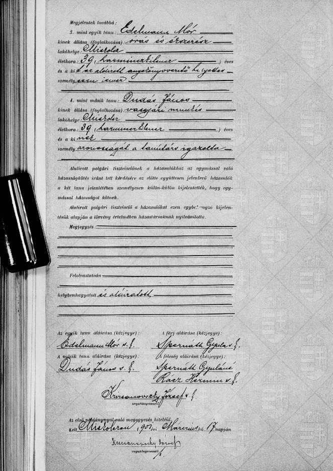 Spernáth Gyula házassági anyakönyve