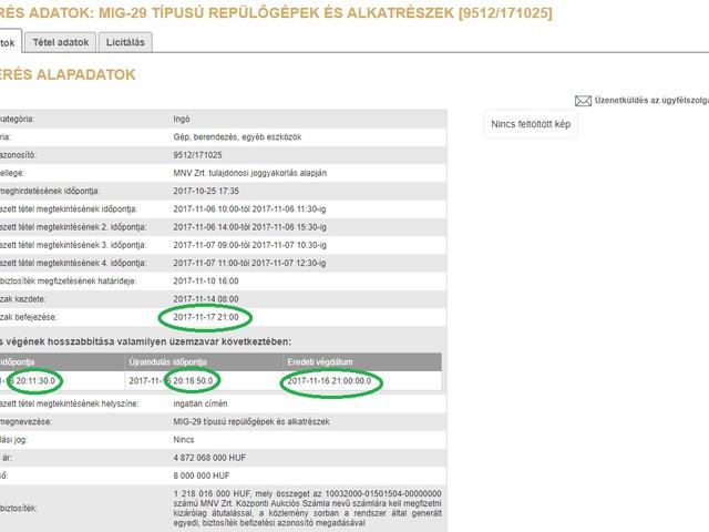 Üzemzavar miatt nem zárult le a MiG-29-esek árverése - UPDATE