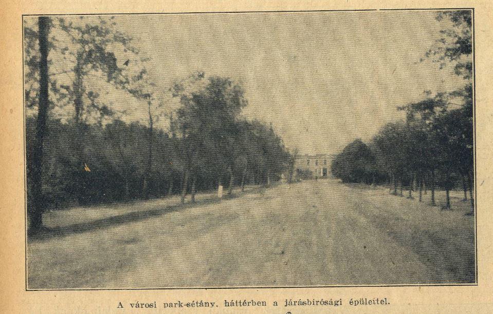 """Park-sétány, a Kossuth téren átsuhanó főút részlete, előtérben a Hatvani Járásbíróság épülete. Az úttest akkoriban jóval keskenyebb sávot foglalt el, amely az utóbbi évtizedek során folyamatosan terjeszkedett a park és a gyalogos felület kárára. A fák száma jelenleg szintén jelentős csökkent az eredeti állapothoz viszonyítva, sőt ekkor még a gyalogjárda melletti fasor is """"életben volt""""."""