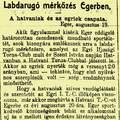 A második Hatvan-Eger futball-derbi