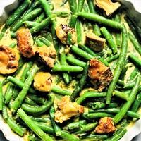 Zöldbab sült camemberttel