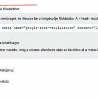 Google Webmestereszközök: Blog.Hu tulajdon igazolása head html-címkével