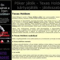Texas Holdem póker játék honlap optimalizálása