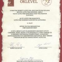 Az év levéltári kiadványa - II. díj