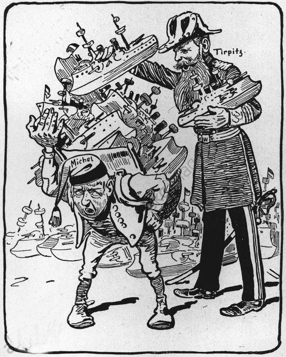 Korabeli karikatúra arról, mit jelent a flottaépítés Németországnak.