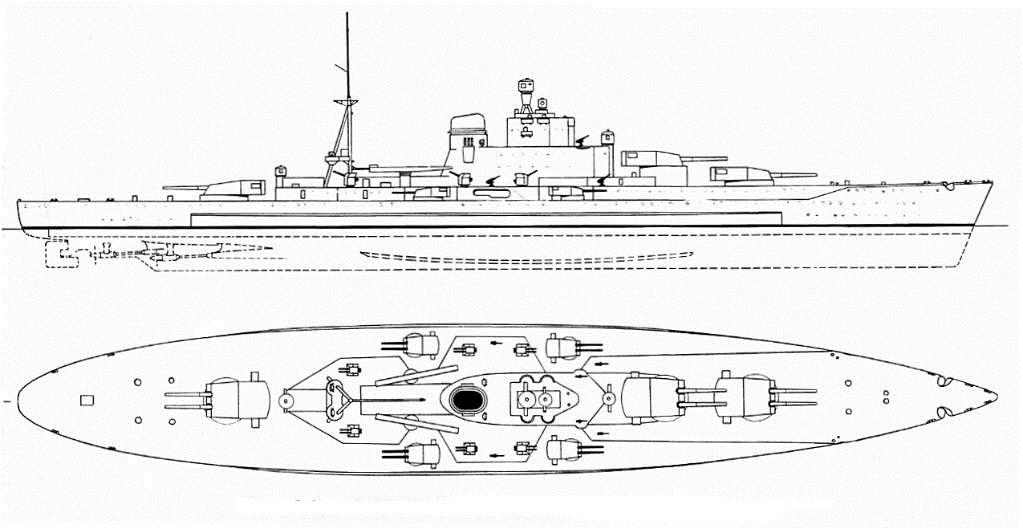 23 ezer tonnás, hat darab 38 cm-es ágyúval felszerelt olasz csatahajó terve a húszas évek végéről.