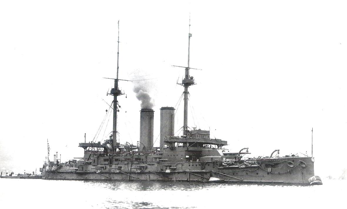 A japán flotta zászlóshajója, a Mikasa.