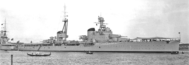Az 1933-ban szolgálatba állított Bolzano nehézcirkáló. Parancsnoki tornya feltűnően hasonlit a Design 770 elrendezéséhez.